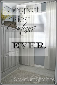 Muslin Curtains – Cheapest & Easiest Curtains, EVER! – Muslin Curtains – Cheapest & Easiest Curtains, EVER! Muslin Curtains, No Sew Curtains, Cheap Curtains, Drop Cloth Curtains, White Curtains, How To Make Curtains, Layered Curtains, Purple Curtains, Elegant Curtains