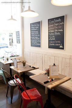cafe layout. chalk boards. colourful chairs.