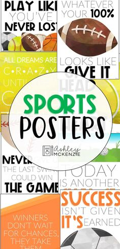Display these motivational sports posters in your home, classroom, or P.E. room! They make for a fun sports bulletin board or display them on your classroom door. Click to see all 8 included.