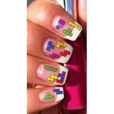Awesome Tetris Nail Art Stickers! [The perfect match for my gameboy iPhone cover] :D