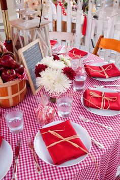 red apples in a basket are the perfect centerpiece!