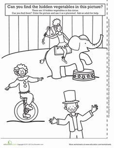 Kindergarten Places Paper Projects Worksheets: Circus Activity Placemat Worksheet