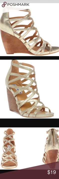 Steve Madden size 8 gladiator gold wedge sandals Worn 3 times these are in great condition . ❤❤visit eBay and search seller:fjamal103187 for lower prices ❤❤ Steve Madden Shoes Sandals