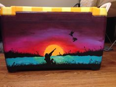 Painted fraternity cooler hunting painted cooler sunset painted cooler