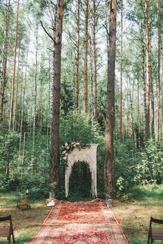bohemian wedding boho wedding ceremony in the woods, rugs under alter with macrame alter decor Bohemian Wedding Decorations, Ceremony Decorations, Bohemian Weddings, Outdoor Weddings, Picnic Weddings, Wedding Picnic, Wedding Centerpieces, Bohemian Bridesmaid, Garden Weddings