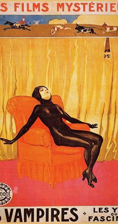 """Irma Vep, the anti-heroine of the French silent film serial """"Les Vampires"""", frech poster art / illustration / movie poster / cine Horror Movie Posters, Cinema Posters, Film Posters, Poster Films, Vintage Movies, Vintage Ads, Vintage Posters, French Posters, Classic Horror Movies"""