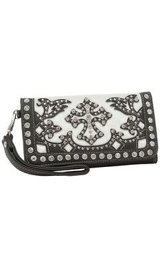 9e1d5153759e Blazin Roxx Ladies Cream Faux Cowhide with Brown Cross Overlay   Crystals  Flap Wallet Cowgirl Bling