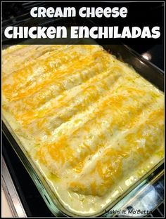 "Neat Cream Cheese Chicken Enchiladas aka The Bomb! This is SO good, easy, and no ""cream of"" anything! The post Cream Cheese Chicken Enchiladas aka The Bomb! This is SO good, easy, and no ""cream of"" anything! appeared first on MIkas Recipes . A Food, Food And Drink, Tacos, Comida Latina, Quesadillas, Tex Mex, Kid Friendly Meals, Food Dishes, Main Dishes"