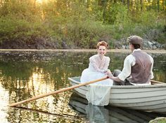 "There's also the Lake of Shining Waters, complete with a rowboat to recapture Gilbert's rescue of Anne. | This ""Anne Of Green Gables"" Themed Wedding Is The Sweetest Thing Ever"