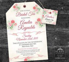 Pink Floral Bridal Tea invitations. High Tea by SladeStudios