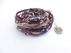 LEATHER BRACELETS For Women Purple Beaded Wrap Bracelet Leather Wrap Bracelet Boho Jewelry Beaded Br
