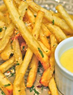 Red Pepper and Parmesan French Fries with a Spicy Garlic Aioli