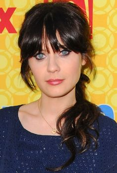 Zooey Deschanel hairstyles: Pulled back vs. down