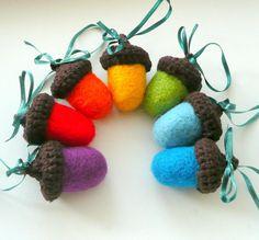 Felt Acorns Rainbow wool  with chocolate brown hats by astashtoys, $35.00