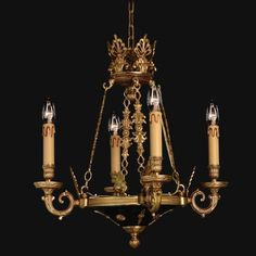 Vintage Collection - Four Light Chandelier - Four Light Chandelier in Traditional European Style in Doré Gold w/Black Accents Finish.  Created using Lost Wax casting technique.  Handcrafted in Spain.