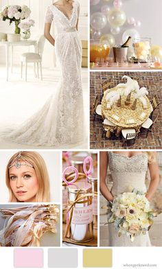 OZ: Glinda The Good Witch Inspiration Board. Photos: Champagne Bar: Everything Fabulous/Dress: Manuel Mota 2013/Bouquet: Elizabeth Anne Designs/Tiara: Asos/Wands: Etsy/Bubbles: Groom Sold Separately/Table: Misty Miotto Photography