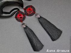 черные серьги, черные серьги кисти, черные сережки, black earrings, vampire, gothic, bead, beademboidery, crystal