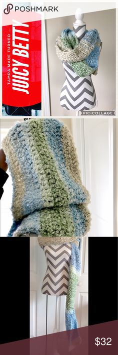 Large Hooded Scarf Brand New! Be the first owner! Large chunky crochet hooded scarf. Light blue, light green and wheat colored. Super soft!! Measurements- Scarf: 57Lx6.5H. Hood: 13Lx22H Accessories Scarves & Wraps