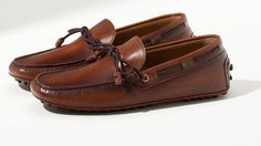 Brown washed leather moccasins | Massimo Dutti
