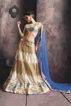 Net Party Wear Lehanga choli in Beige and Blue ColourIt comes with matching Dupatta and Choli.It is crafted with Lace Work,Embroidery Design...