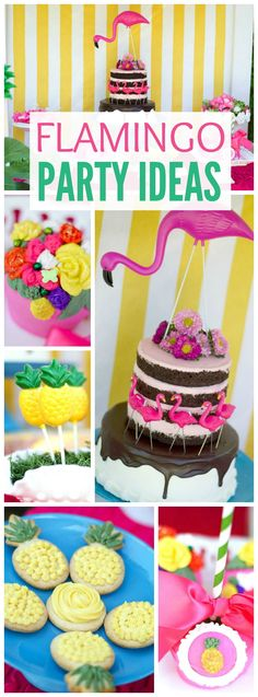 Here's a birthday party with a flamingo and pineapple theme! See more party ideas at CatchMyParty.com!