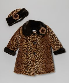 Brown Faux Fur Softie Sweet Pea Coat & Hat - Toddler & Girls   Daily deals for moms, babies and kids