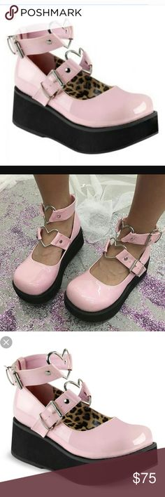 MARY JANES. PINK CRY BABY MARY JANES DEMONIA Platform Mary Jane Wrap Around Ankle Strap Heart O-Ring SPRITE-02 Pin Demonia Shoes Platforms