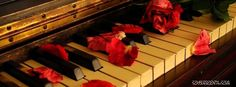retro piano covered with rose petals and red rose music cool facebook music timeline profile cover. stunning retro piano covered with rose petals cool facebook timeline profile cover fb banner.