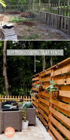 DIY Horizontal Slat Fence and Backyard Makeover. Create a stunning backdrop for your yard and outdoor living space with these DIY privacy fence panels. - DIY Horizontal Slat Fence featured by popular Patio Fence, Backyard Privacy, Diy Fence, Backyard Fences, Backyard Landscaping, Diy Patio, Landscaping Ideas, Farm Fence, Patio Ideas
