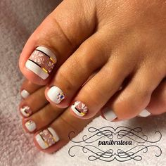 21 Chic Toe Nail Designs to Complete Your Image ❤ Elegant White Base Color For the Sweet Look of Your Toes picture 2 ❤ Next time you go to the nail salon pick the most glamorous toe nail design to show off how cool you are. Get the inspo here. https://naildesignsjournal.com/chic-toe-nail-designs/ #naildesignsjournal #nails