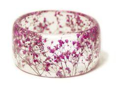 Flower Jewelry - Real Flower Jewelry - Pink Bracelet- Pink Bangle- Pink Flower Jewelry- Resin Jewelry- Flower Bangle- Pink Resin Bracelet