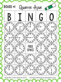 Time to the Quarter Hour Bingo - 25 Different Game Boards - CCSS Telling Time to the Quarter Hour Bingo - by Techie Turtle Teacher Telling Time Games, Telling Time Activities, Teaching Time, Teaching Math, Math Activities, Telling The Time, Math Measurement, Board Games, Game Boards