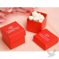 2 PC Personalized Favor Boxes 2x2x2 - Red
