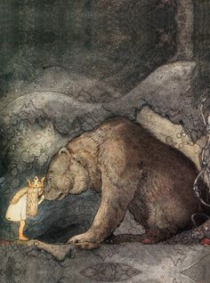 swanmaiden:    John Bauer, She Kissed the Bear on the Nose.