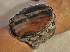 "GIANT FredHarveyEra 99G 3.75""High NAVAJO Antique PETRIFIED WOOD COIN Silver CUFF Cuff Jewelry, Stone Jewelry, Cuff Bracelets, Silver Jewelry, Navajo, Southwestern Jewelry, Southwestern Style, American Indian Jewelry, Petrified Wood"