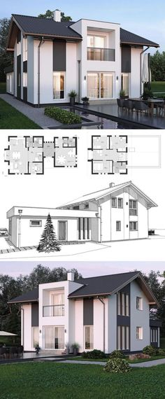 Modern Contemporary Styles Architecture Design House Plans ELK Haus 153 - Dream Home Ideas with Open Floor and Office Layout by ELK Fertighaus - Arquitecture European Style House Plan and Interior with Kitchen Living Room Bathrooms 4 Bedrooms Nursery Kids Modern Floor Plans, Kitchen Floor Plans, Modern House Plans, Home Modern, Contemporary House Plans, Interior Modern, Kitchen Modern, Interior Design, Contemporary Design