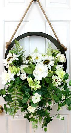 Farmhouse Style Metal Silk Flower Wreath, Rustic Metal Wreath, Everyday Wreath, Shabby Chic Wreath, Summer Wreath, Farmhouse Wreath by WruffleWreathsbyLana on Etsy