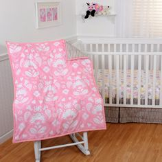 Maybe pink bedding with yellow wall instead? Sumersault+-+Mackenzie+4pc+Crib+Bedding+Collection+Set+Value+Bundle