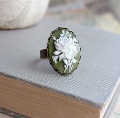 Cameo+Ring+Vintage+Style+Adjustable+Ring+Ivory+door+apocketofposies,+$21,00