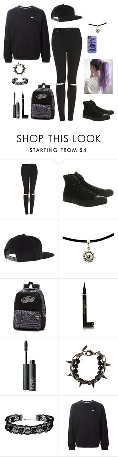 """Black is love"" by sarah-horan-96 ❤ liked on Polyvore featuring Topshop, Converse, UNIF, Vans, Chanel, NARS Cosmetics, Joomi Lim, ASOS and NIKE"