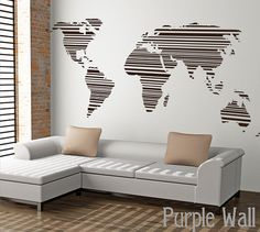 World map wall decal wall sticker office decal large by PurpleWall, $89.00