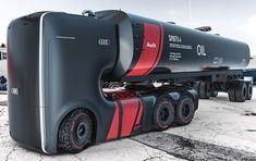 """Futuristic electric autonomously driving truck for highways, designed for Audi.The sleek design of the """"Truck For Audi,"""" created by two digital artistsArtem Smirnovand Vladimir Panchenko."""