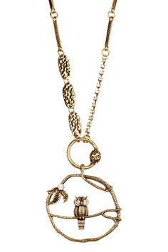 "Cute owl necklace, with lady bug on ring and CZ accents. Chain length 25.5"" and pendant length 2.25"" $24.00 Hautelook"
