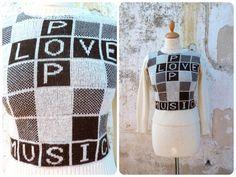 Vintage 1970/70s Love pop music beige & brown cool sweater size S