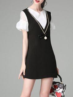 Shop Mini Dresses - Paneled Girly V Neck A-line Frill Sleeve Mini Dress online. Discover unique designers fashion at StyleWe.com.