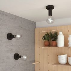 Natural Fermaluce, the natural wood flush light for your wall or ceiling, Plywood Walls, Wooden Walls, White Ceiling, Ceiling Lamp, Wood Canopy, Madeira Natural, Flush Lighting, Led Lampe, Wall Shelves