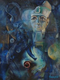 "Oil painting of ""Osiris"" from egyptian mythology depicting a fish and a snake. Painted by visionary artist, Bonny Hut."