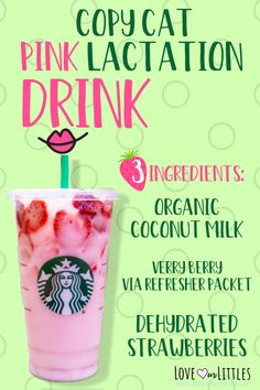 Here are two breast milk boosting pink drink recipes you'll love! The best knock-off pink lactation drink recipes you can make at home! Pink Drink Recipes, Pink Drinks, Yummy Drinks, Healthy Drinks, Baby Food Recipes, Strawberry Drink Recipes, Pink Starbucks, Starbucks Drinks, Starbucks Pink Drink Recipe
