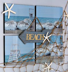 Beach wall decor ideas and how to make a fishnet tutorial. How to make a fishnet from twine to add coastal look to walls. Beach Cottage Style, Beach Cottage Decor, Coastal Decor, Coastal Living, Scrapbook Expo, Scrapbooking, Beach Room, Beach Art, Surf Room