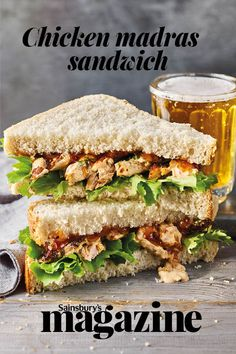 Think of this chicken madras sandwich as a slightly spicer taken on coronation chicken Cooked Sushi Recipes, Sandwich Recipes, Vegetarian Recipes, Chicken Sandwich Filling, Ven Pongal Recipe, Sandwich Fillers, Sushi Lunch, Sandwiches, Paratha Recipes